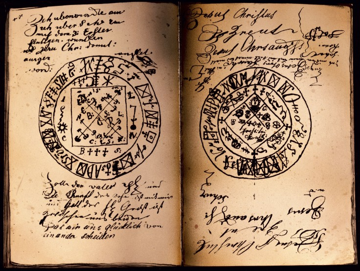 superstition, seal, double page handwritten grimoire, Southern Germany, 19th century, Bavarian National museum, Munich, historic, historical, Europe, esotericism, occultism, magic, book, books, manuscript, prayers, anthems, magic spells, Additional-Rights