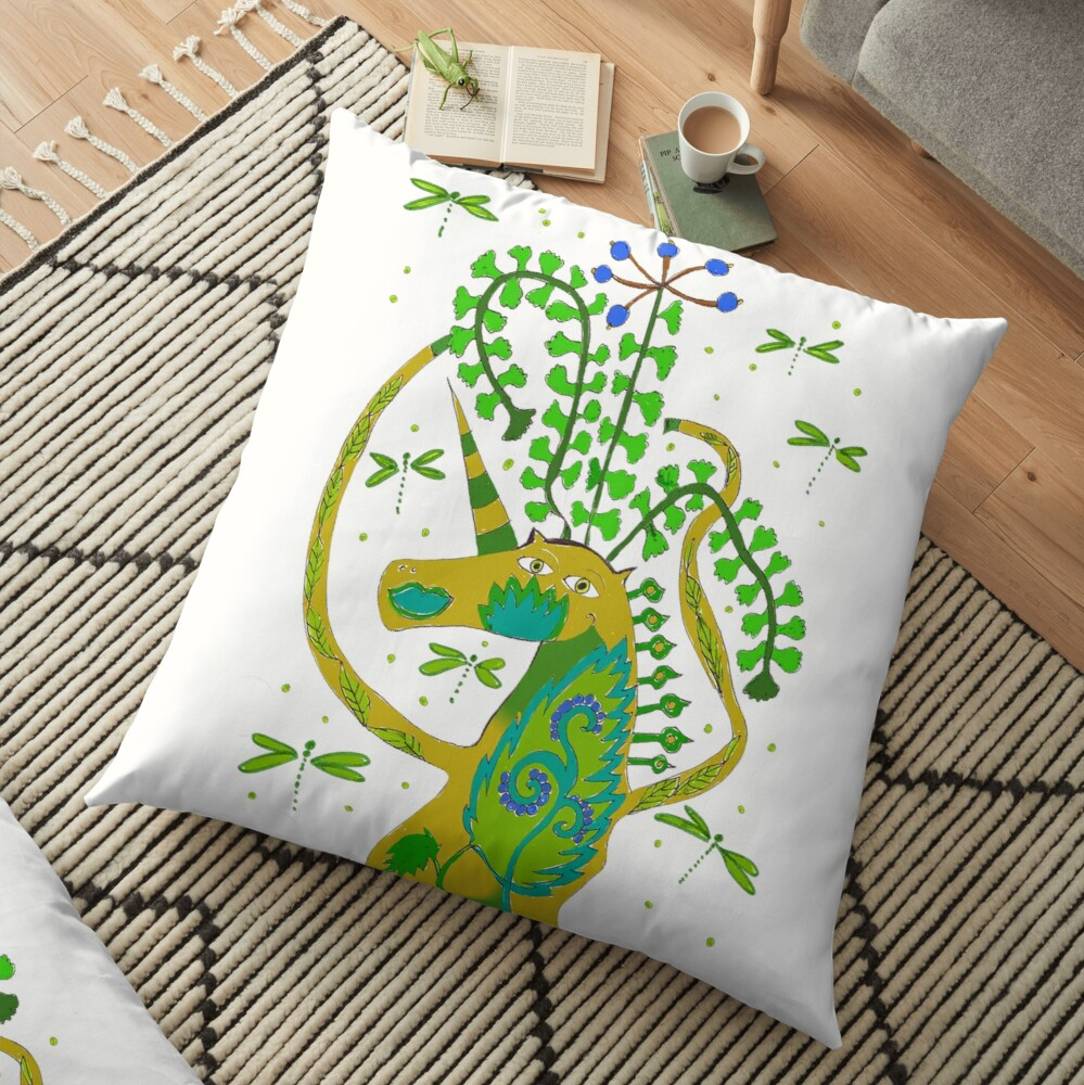 Dragonfly unicorn pillow