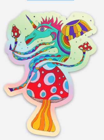 1 x Psychedelic Unicorn Holographic Sticker